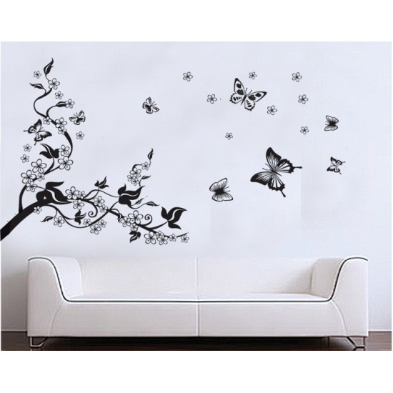 Black Tree & Butterflies & Flowers Wall Decals